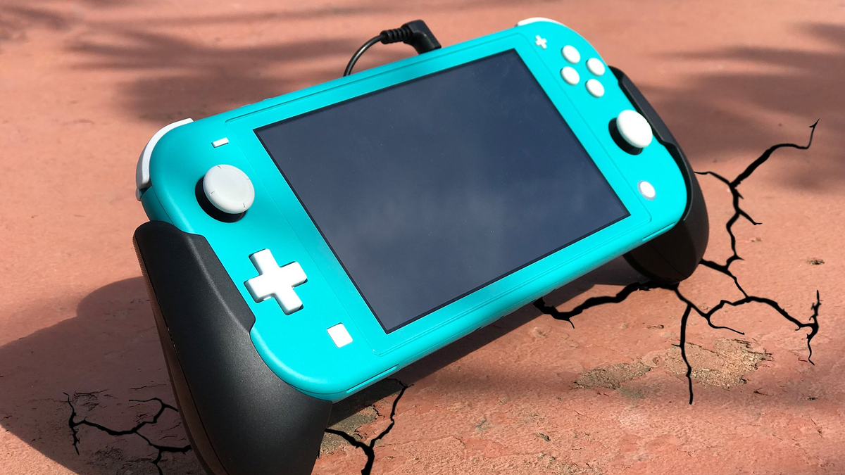 A photo of the Shock 'N' Rock grips for the Nintendo Switch Lite.