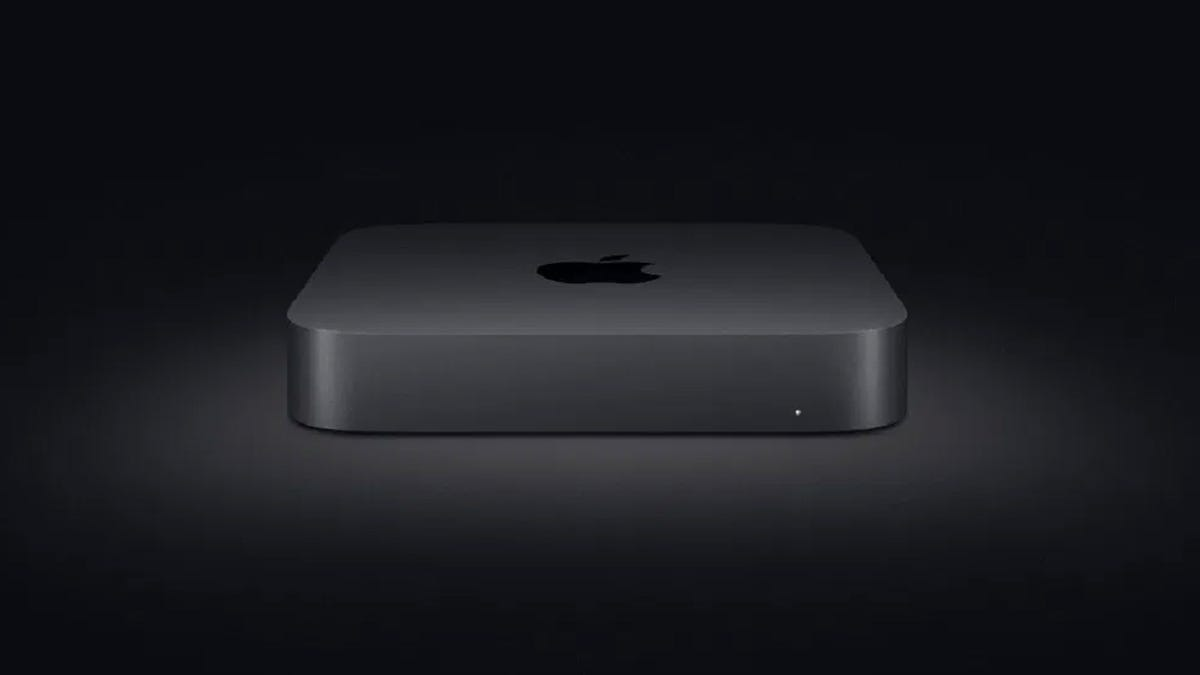 Mac Mini on black background