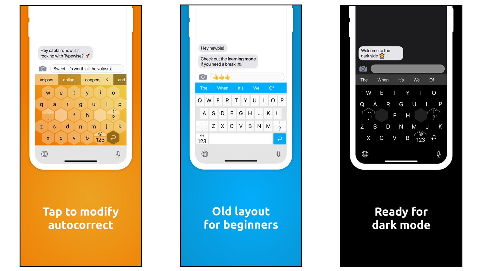 Typewise traditional keyboard and alternative keyboard and night mode