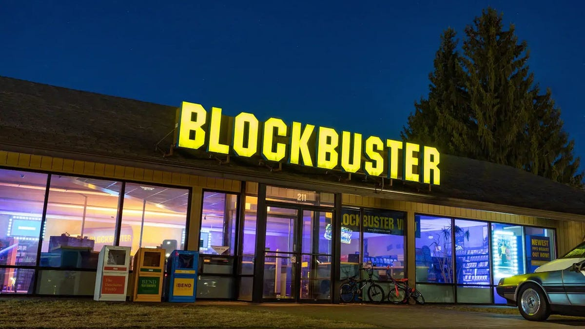 The outside of a Blockbuster store.
