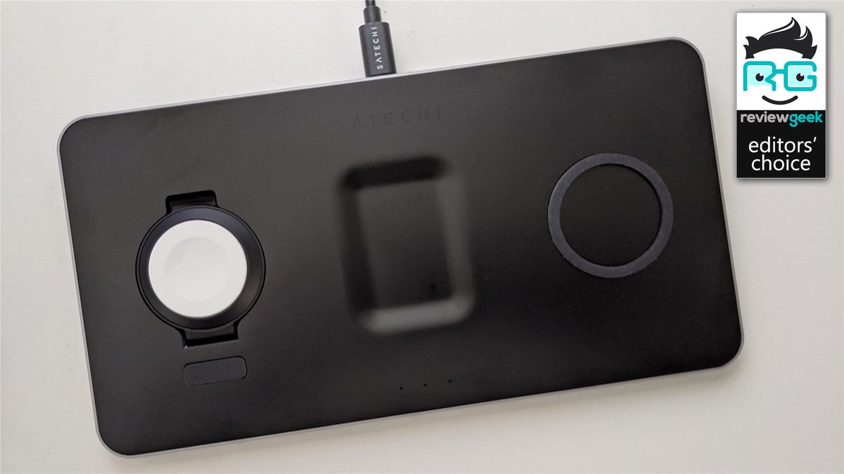 The Satechi Trio wireless charger with nothing charging on it