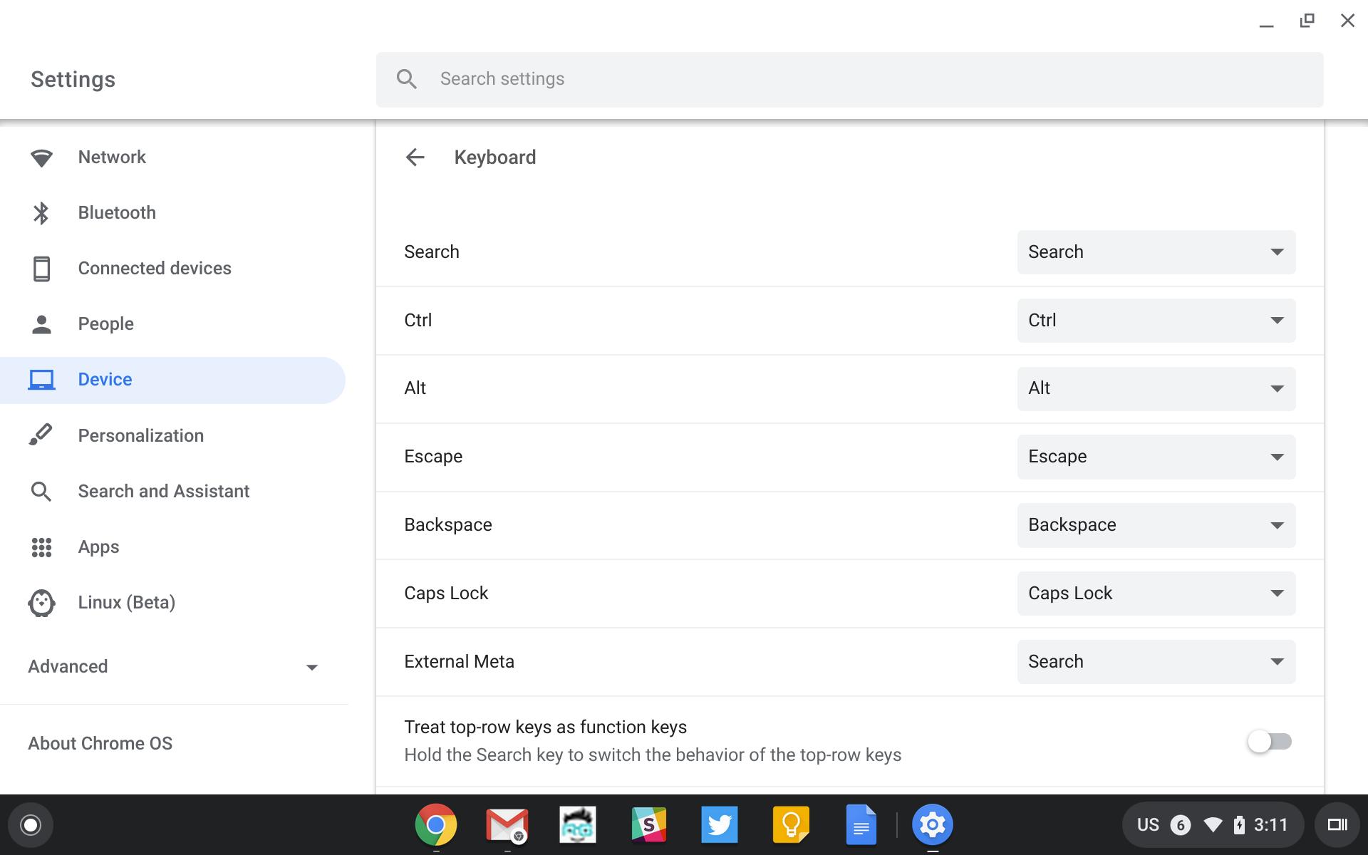 Chrome OS keyboard settings menu