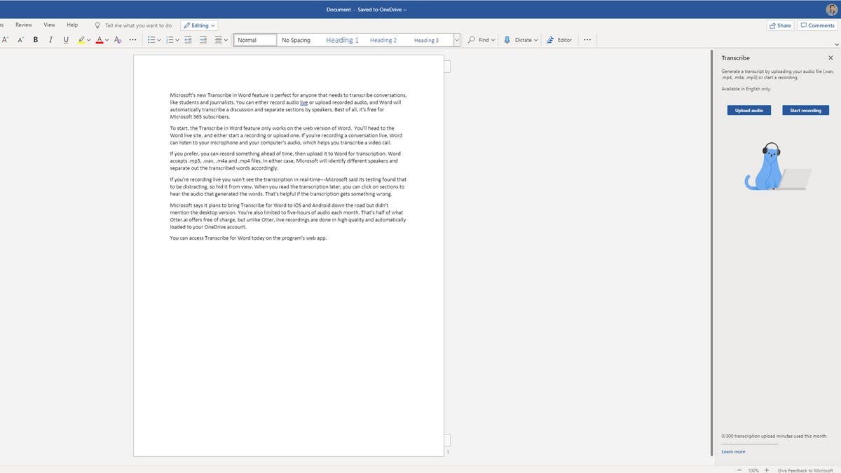 A copy of Word with a transcribe feature opened.