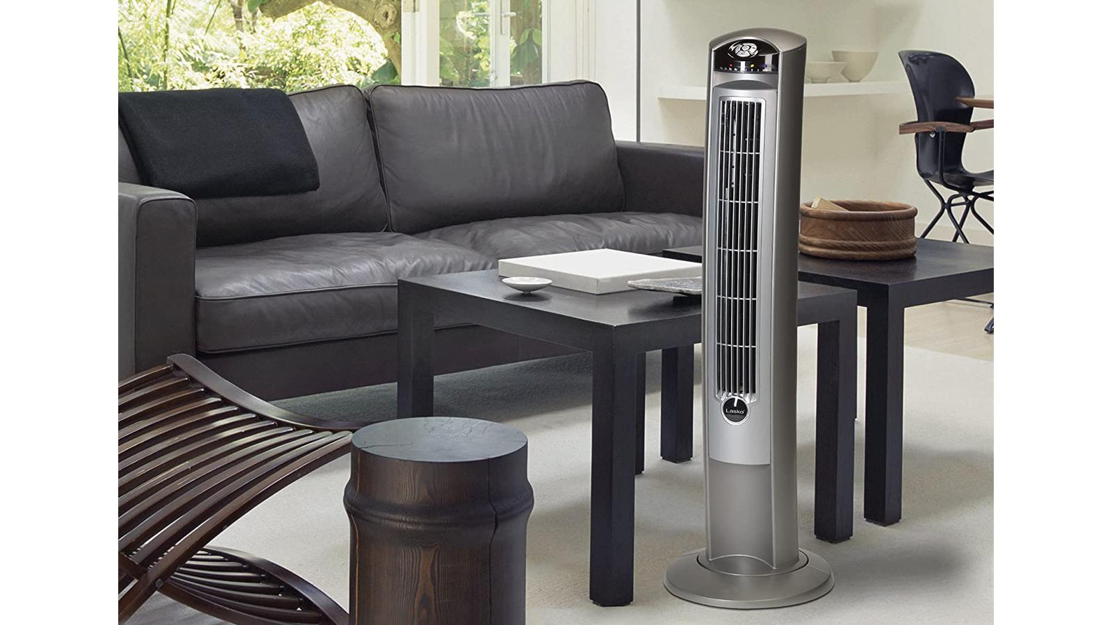 Lasko tower fan in modern living room