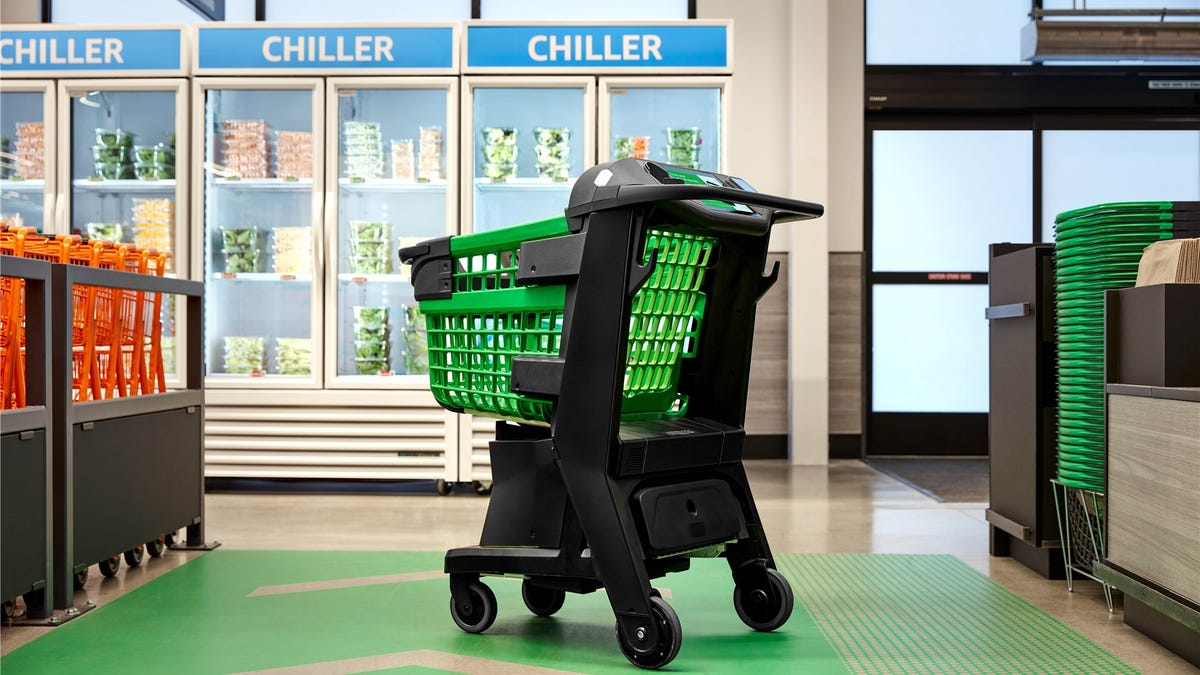 The Amazon Dash Cart in the new Fresh store