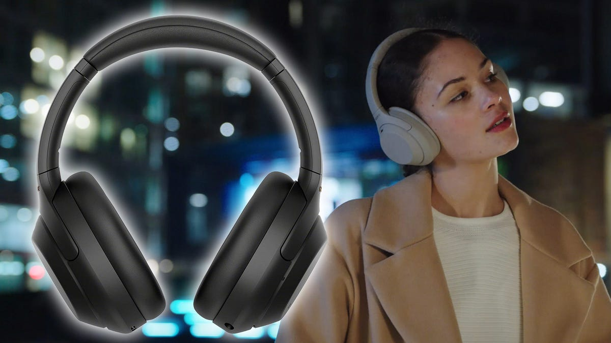 Sony WH-1000XM4 headphones, from the front and on a model