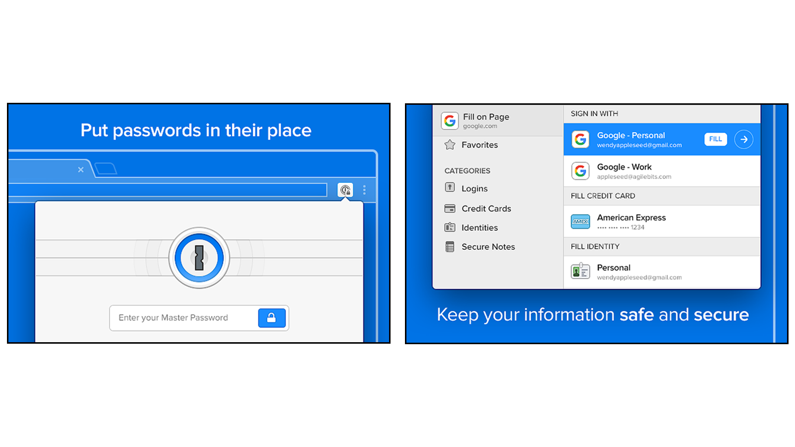 1Password extension so you can find or edit your password info