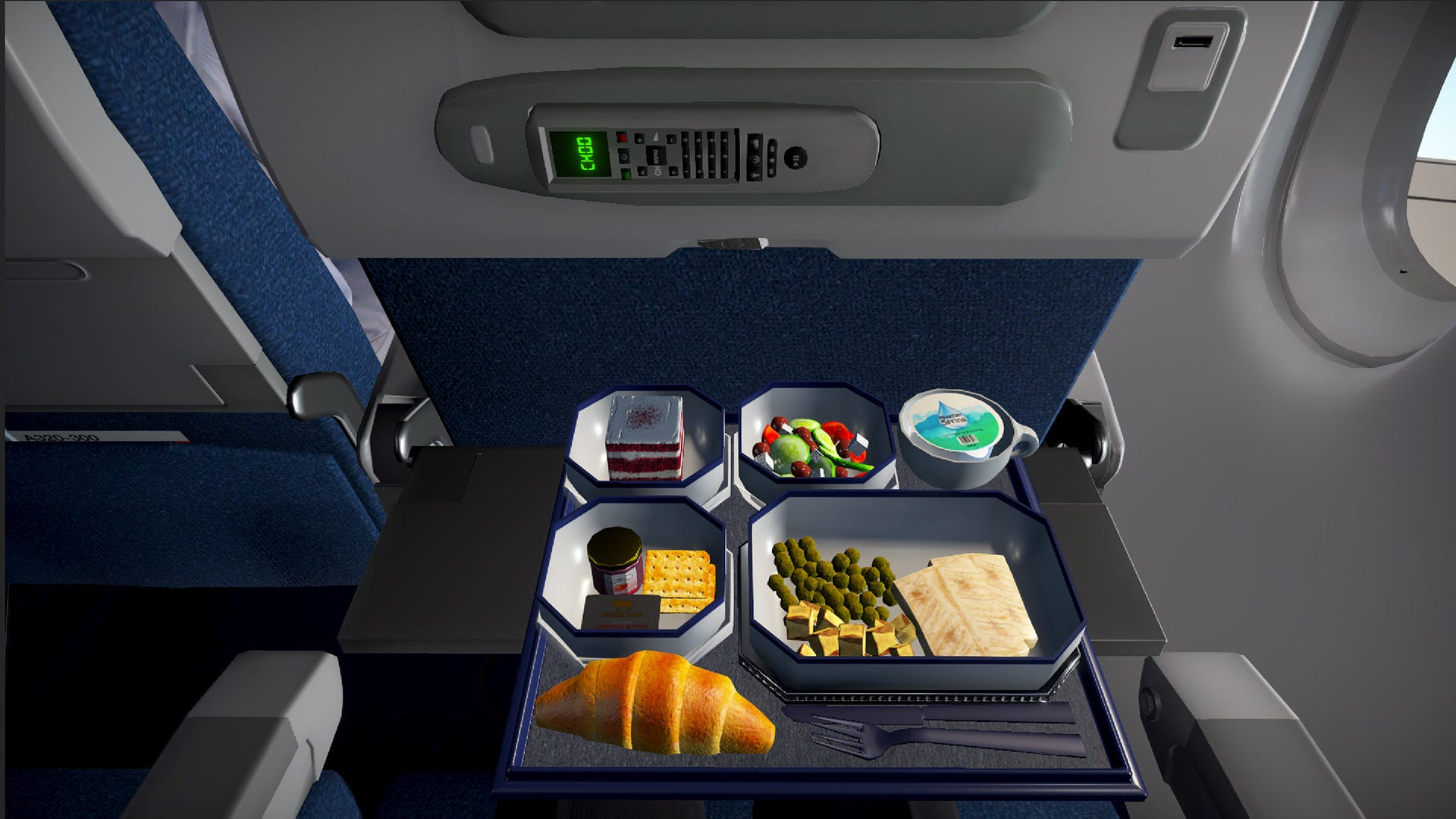 A video game view of a seatback try filled with gross looking food.