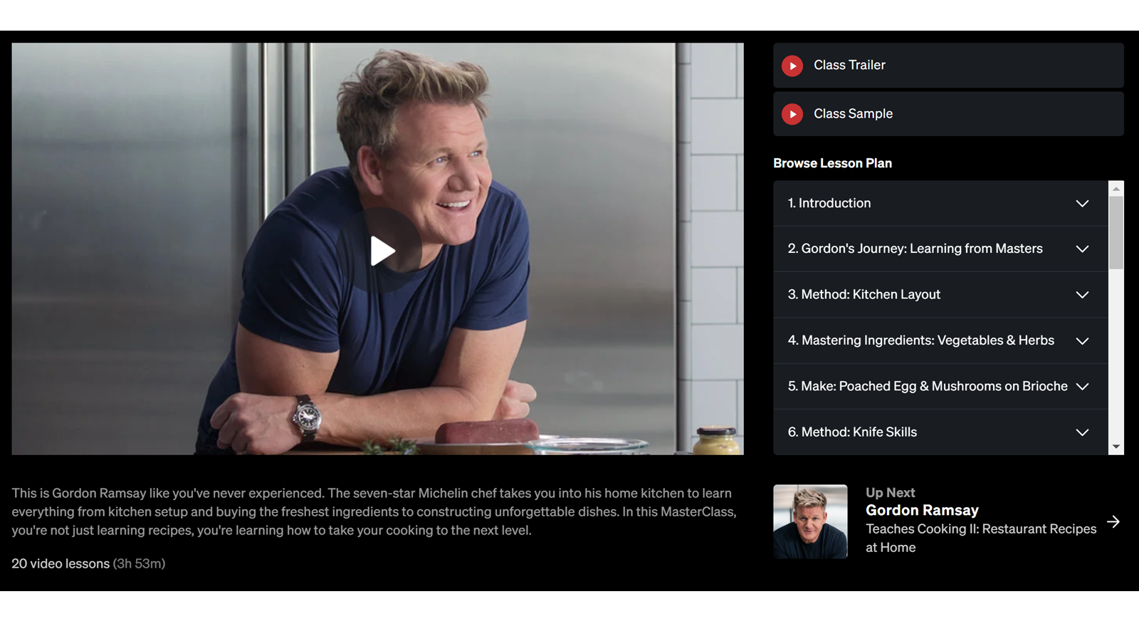 Chef Gordon Ramsay's MasterClass course overview
