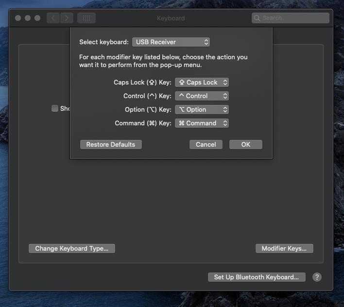 MacOS keyboard menu