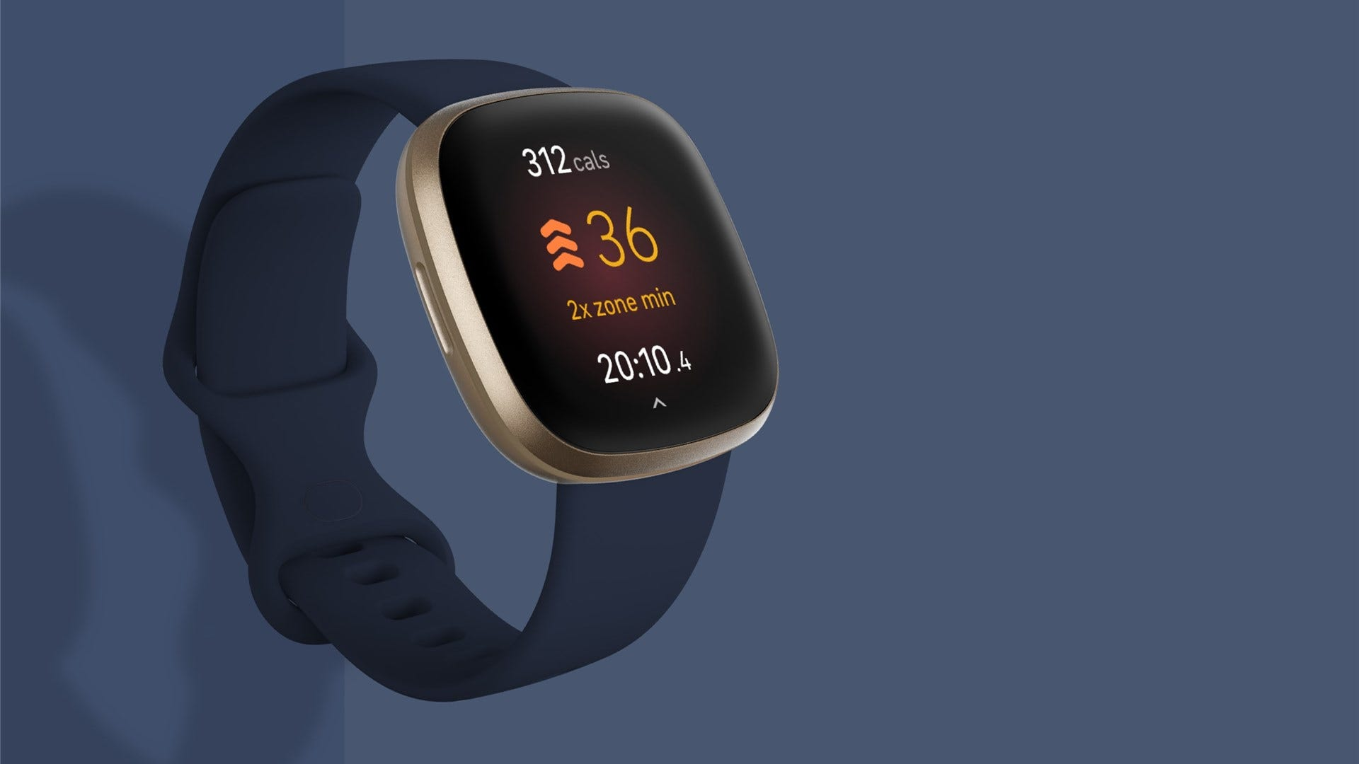 A blue Fitbit Versa 3 on a matte blue backdrop