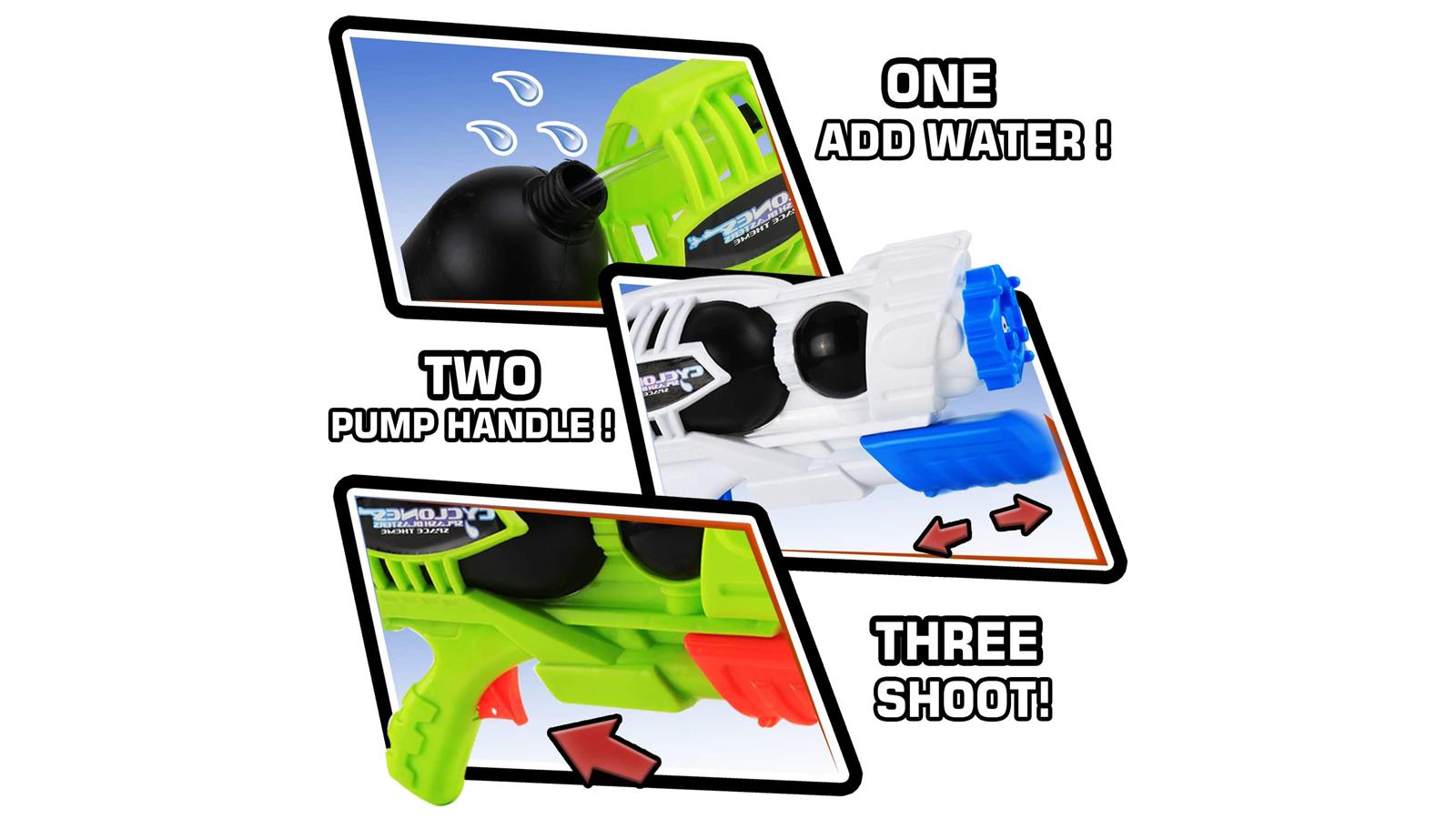 super soaker water guns load pump blast