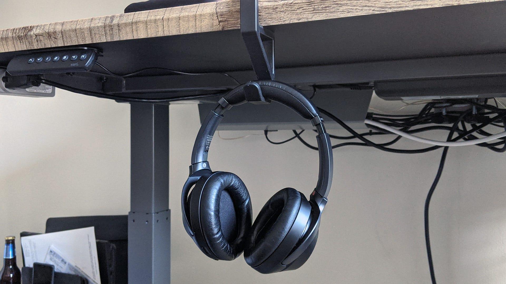 Vari desk headphone/bag holder