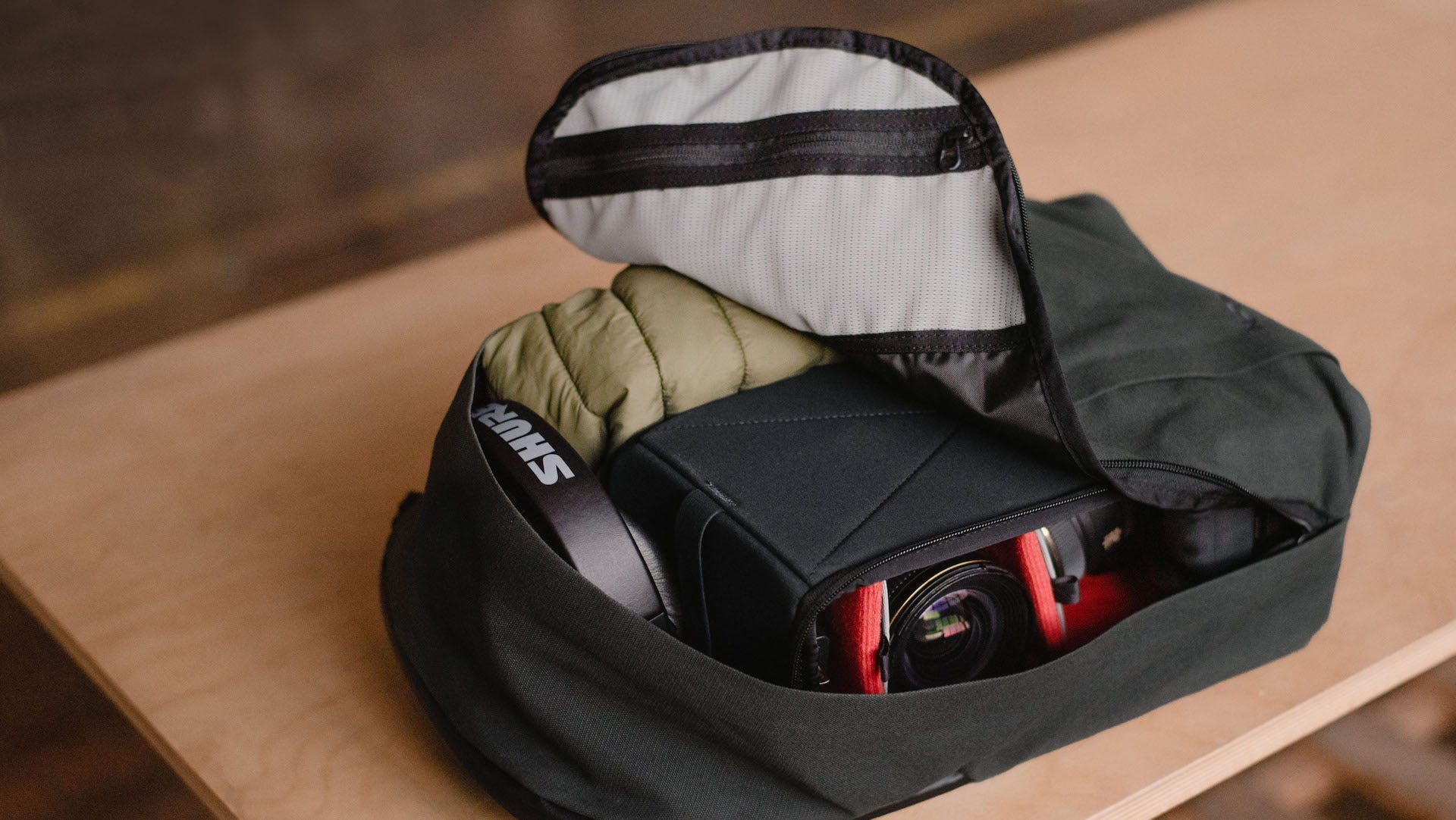 Moment Travelwear backpack open and packed