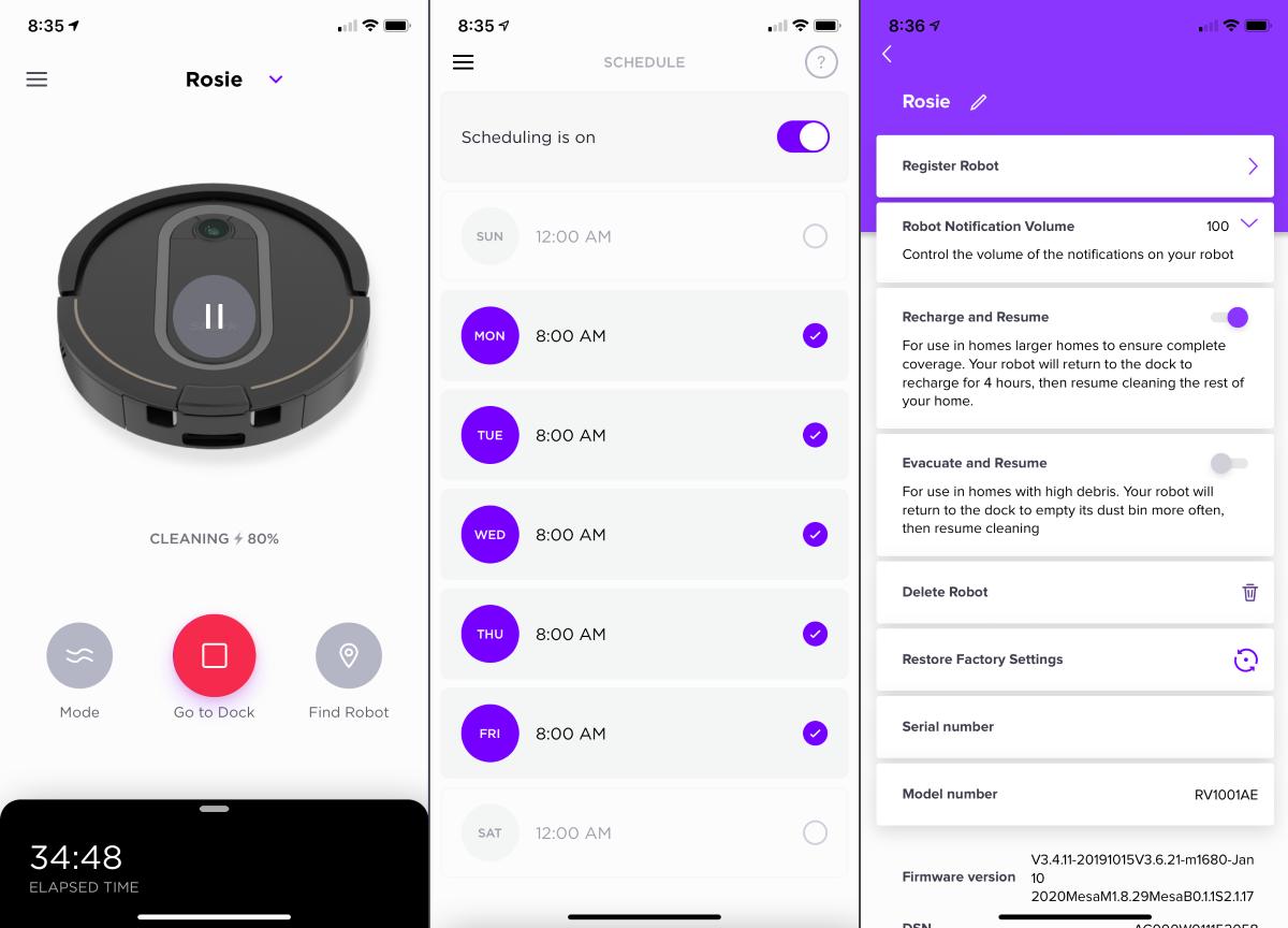 Shark IQ App - Primary Screens