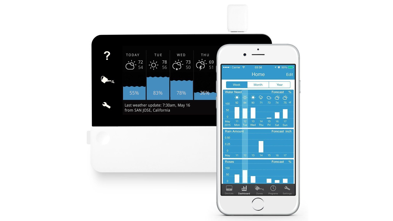 The RainMachine Touch HD-12 device and mobile companion app