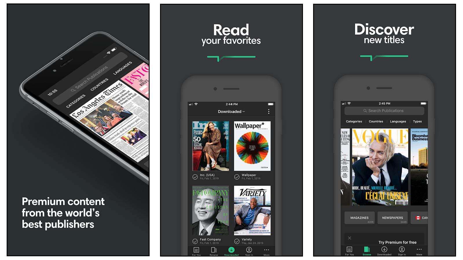 PressReader magazine read and discover screens