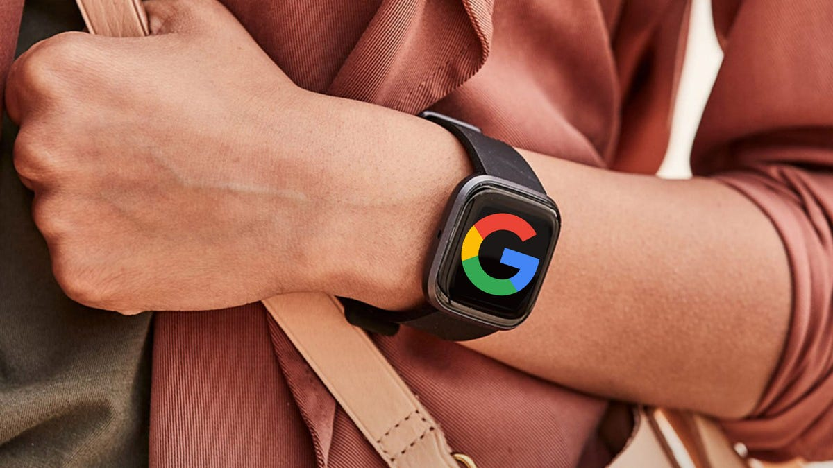 A Fitbit Versa with the Google logo