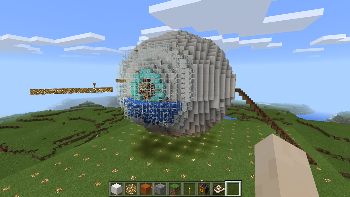 A structure resembling a human eye, built in Minecraft.