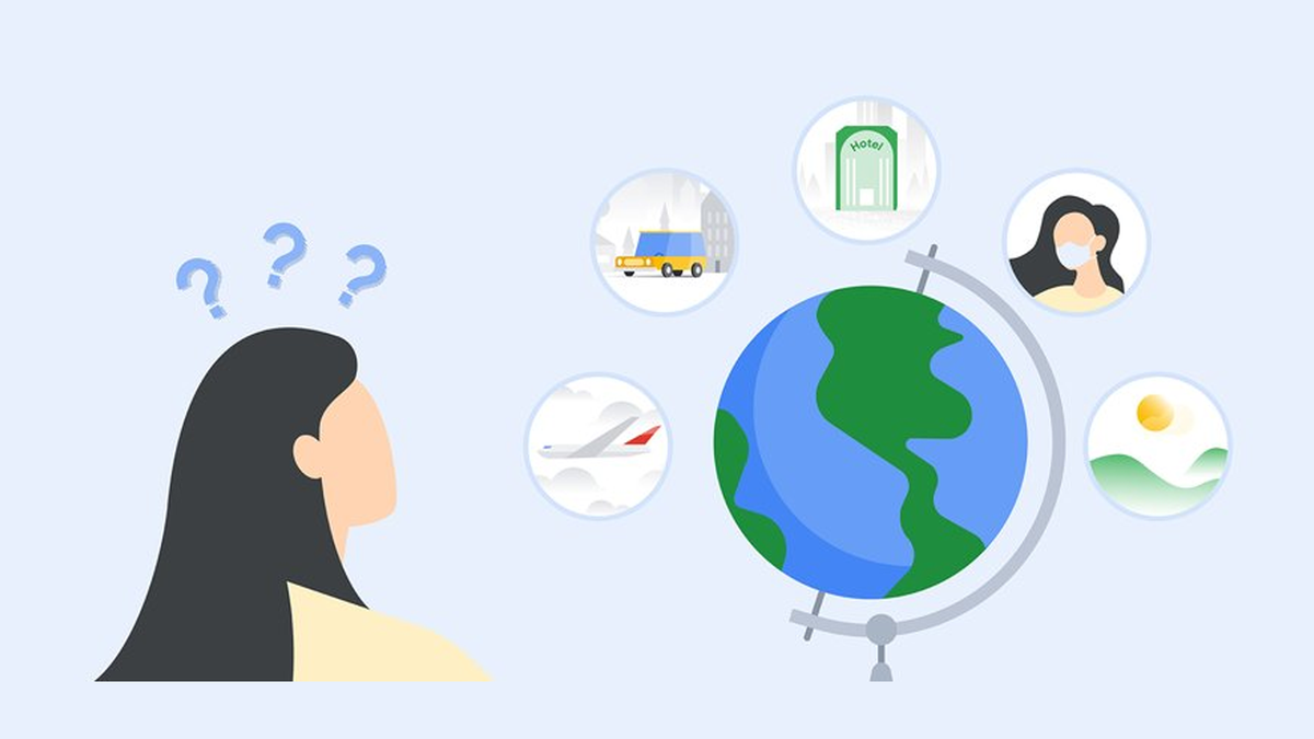An ilustration of Google's travel services.