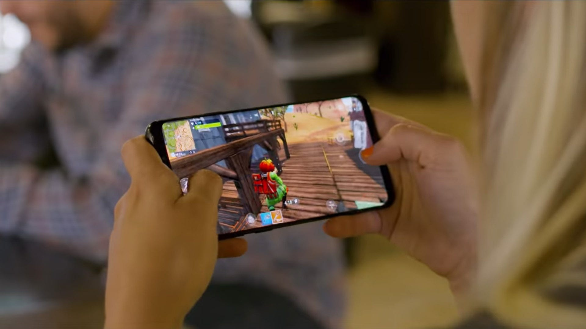 Fortnite being played on an Android phone