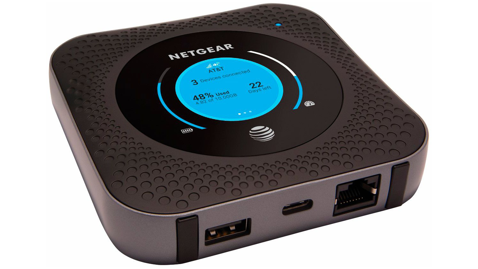 AT&T NETGEAR Nighthawk LTE Mobile Hotspot Router device with 1.4-inch display showing stats and battery power