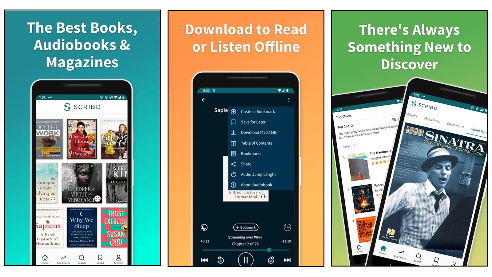 Scribd magazine selection, offline functionality, and library