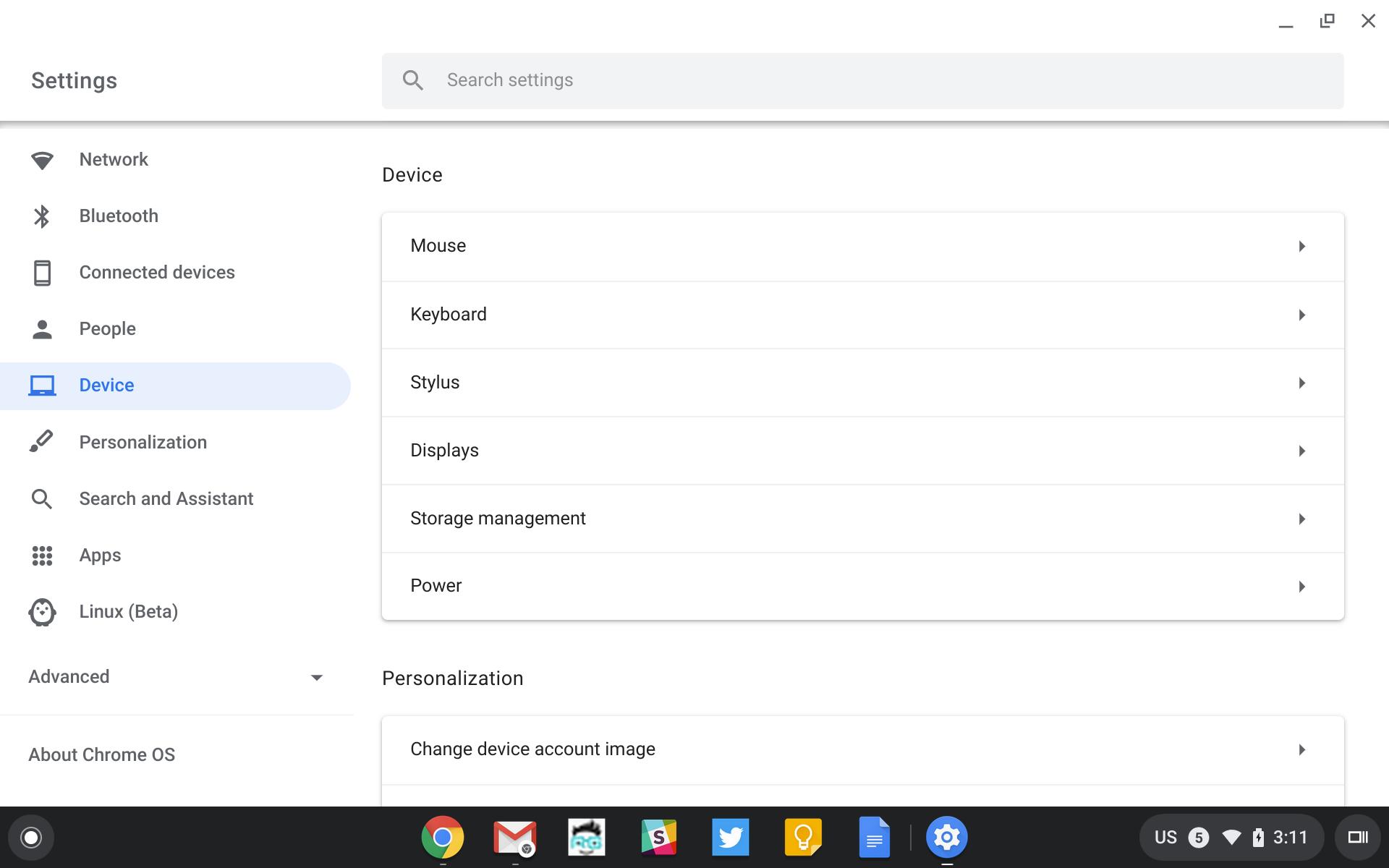 Chrome OS settings menu