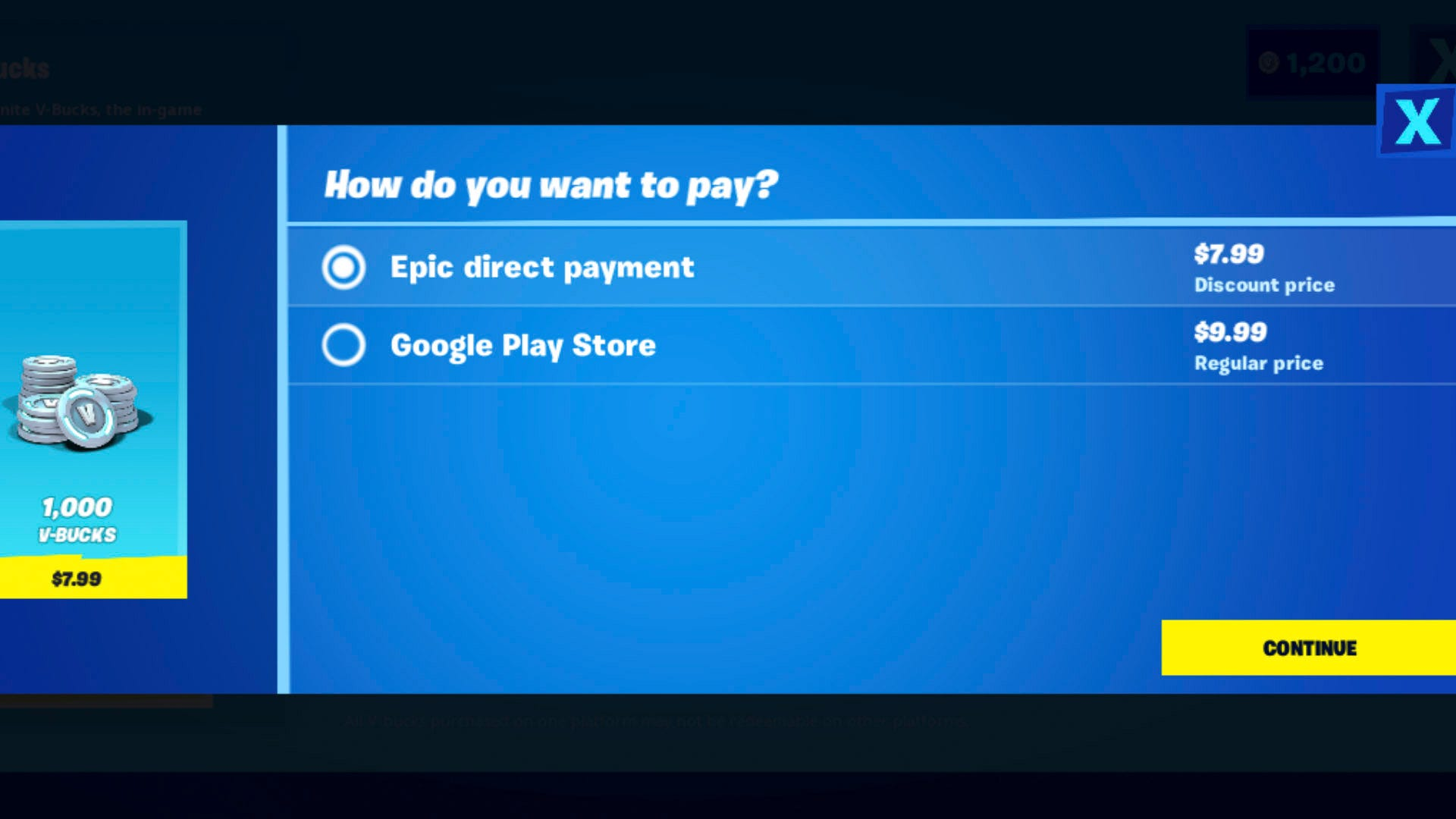 The Fortnite app with two methods of payment at different prices.