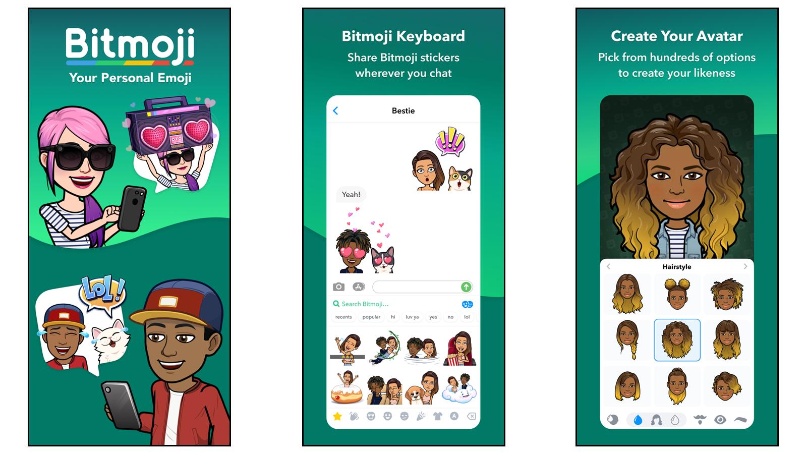 Bitmoji app for creating custom cartoon avatar stickers