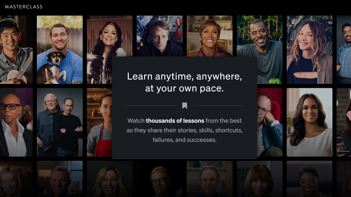 MasterClass website landing page with pictures of celebrity experts