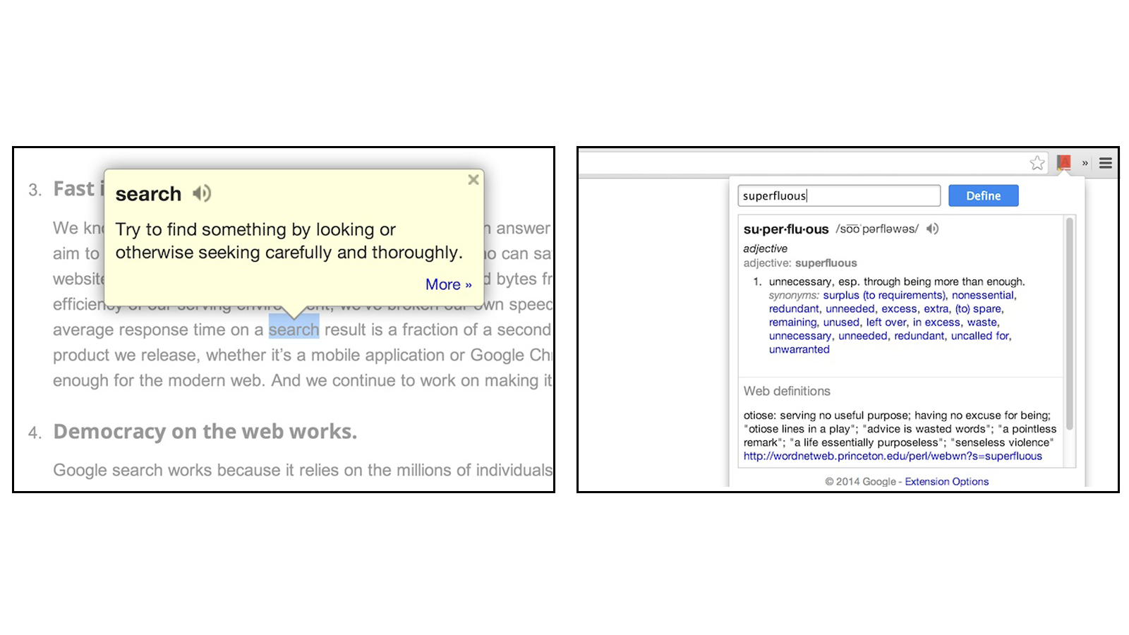 Google Dictionary showing highlighted word with pop-up definition bubble and complete definition pages