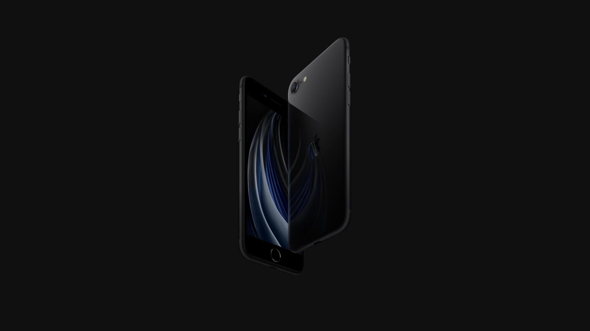 A black iPhone SE on a black background