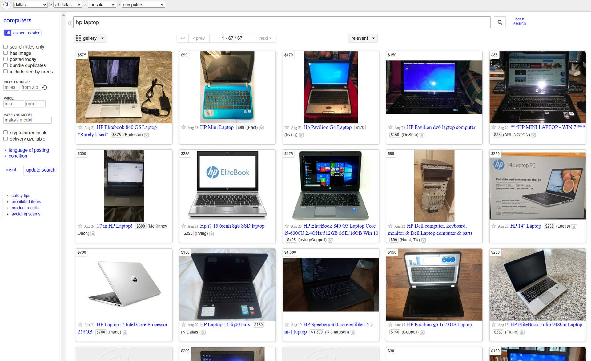 Craigslit page with laptops for sale.