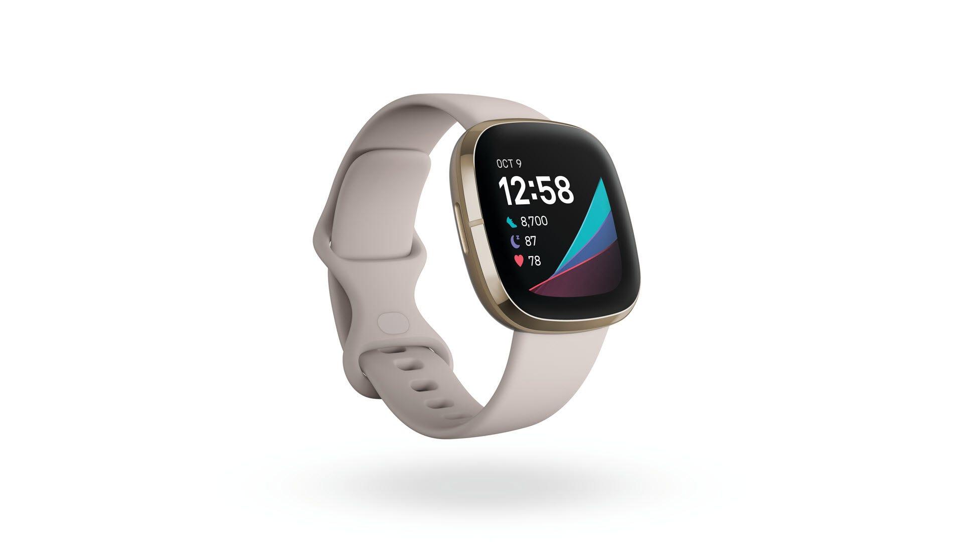 A closeup of the Fitbit Sense smartwacth in lunar white.