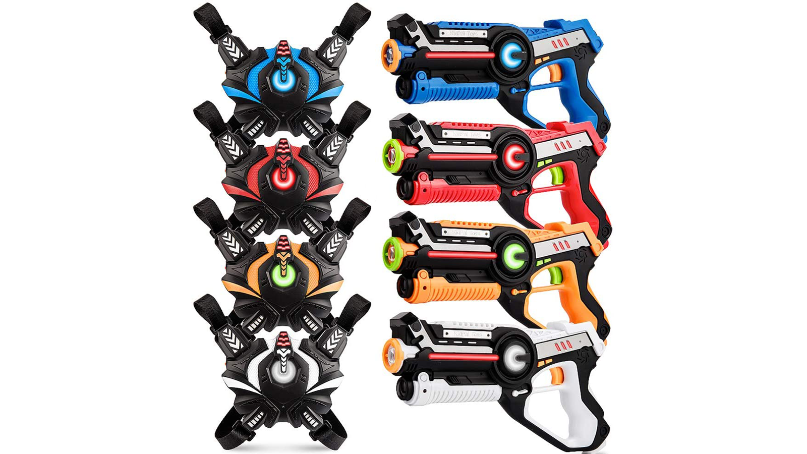Four colorful laser tag guns and vests