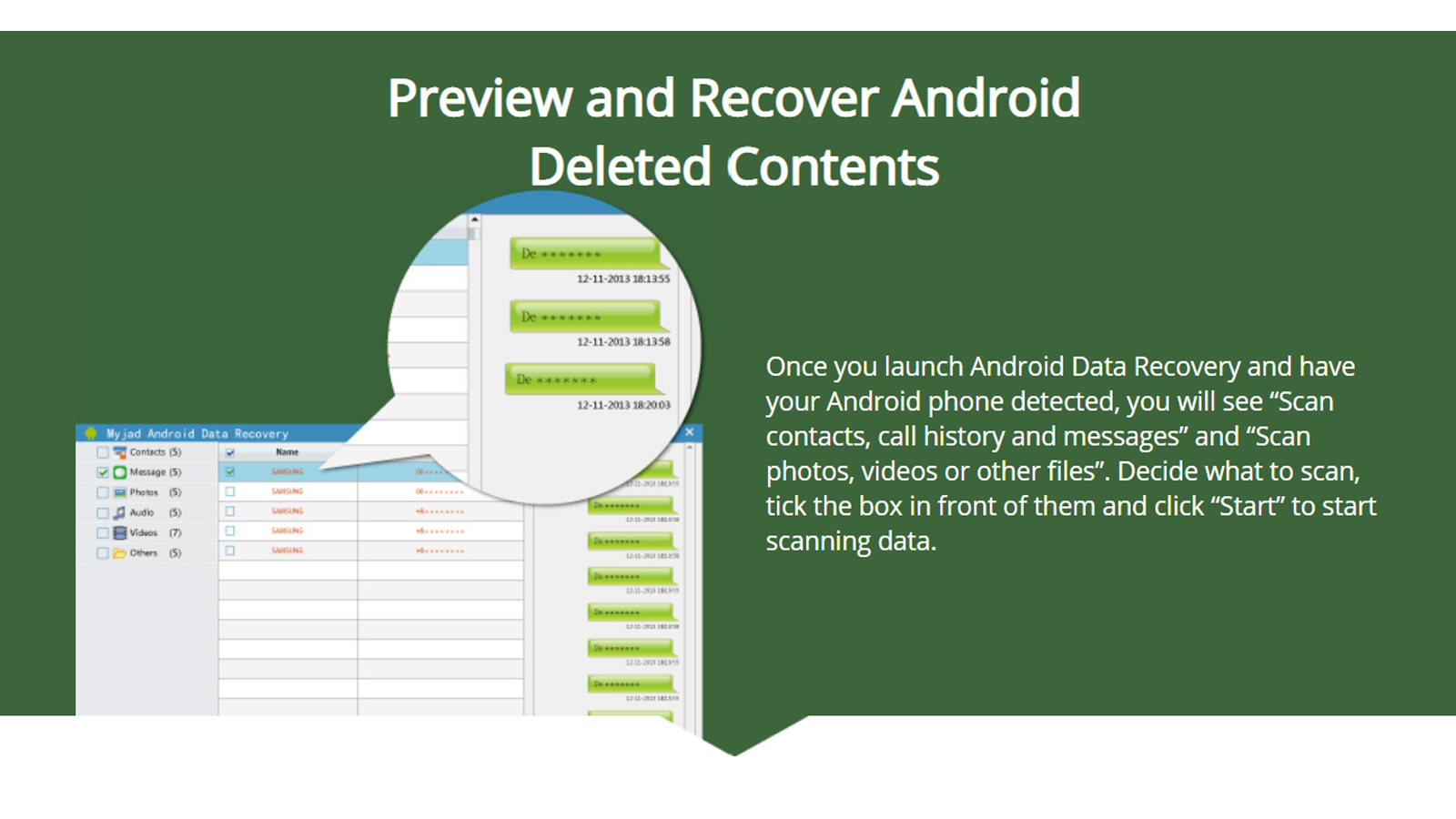 MyJad Android Data Recovery app can recover data and save a copy to your desktop