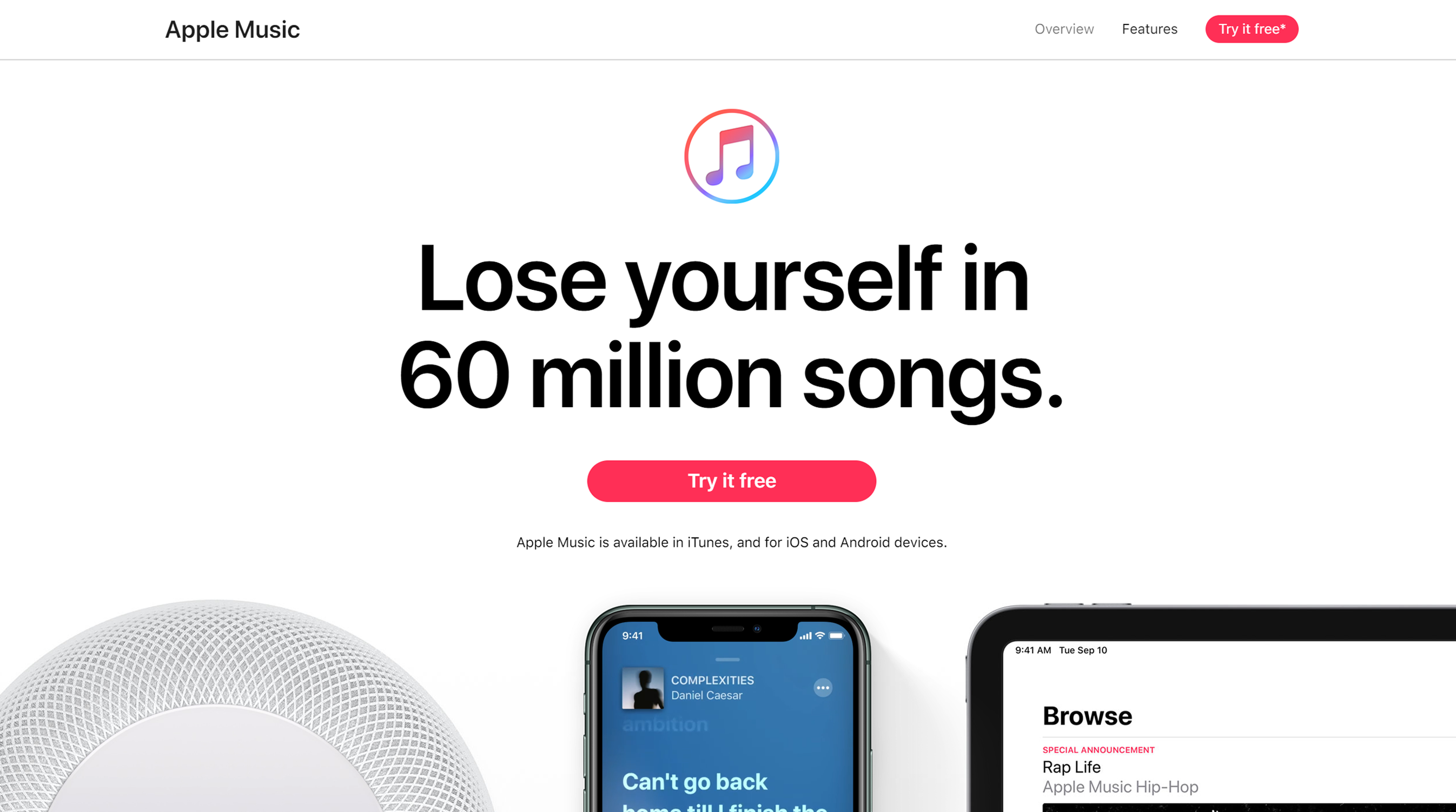 "Apple Music website with devices to listen to music on and text ""lose yourself in 60 million songs"""