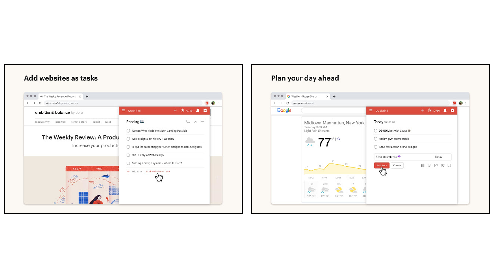 Add and edit to-do lists, plan your day, and collaborate on projects with Todoist