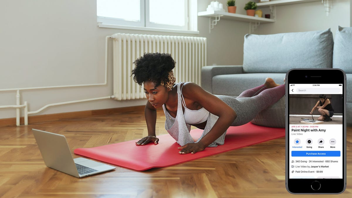 A woman working out in front of a laptop, with an iPhone showing a painting class on Facebook.