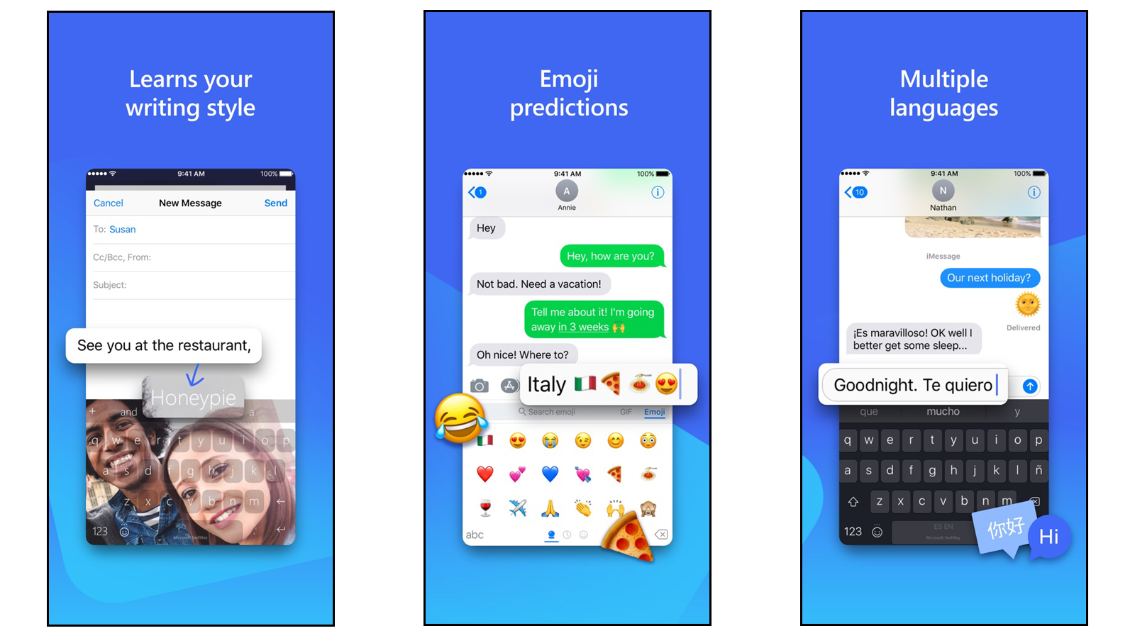 SwiftKey app for talking in different languages and using emoji