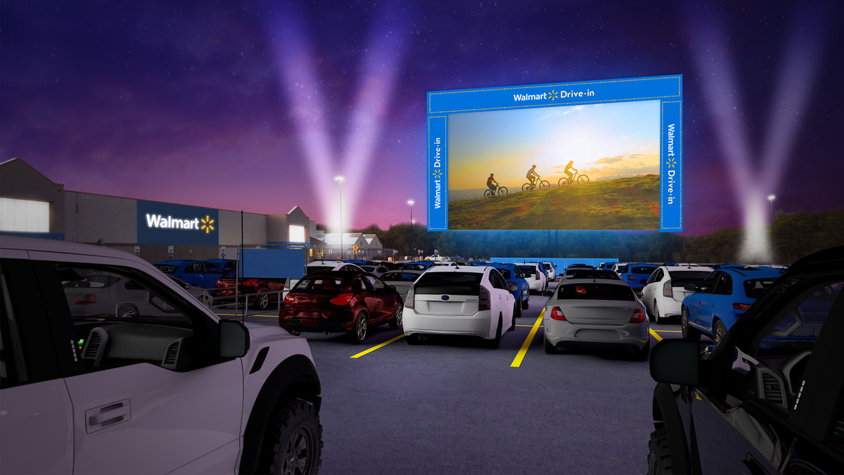 Walmart Drive-in movie experience with family-friendly movies