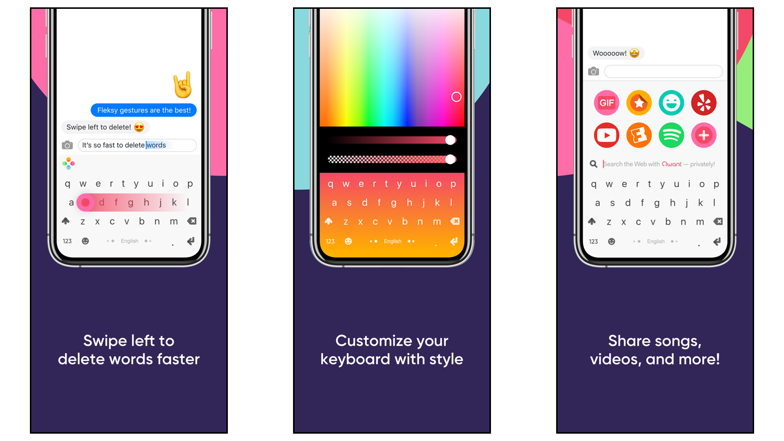 Fleksy keyboard for privacy, speed, and pretty customization