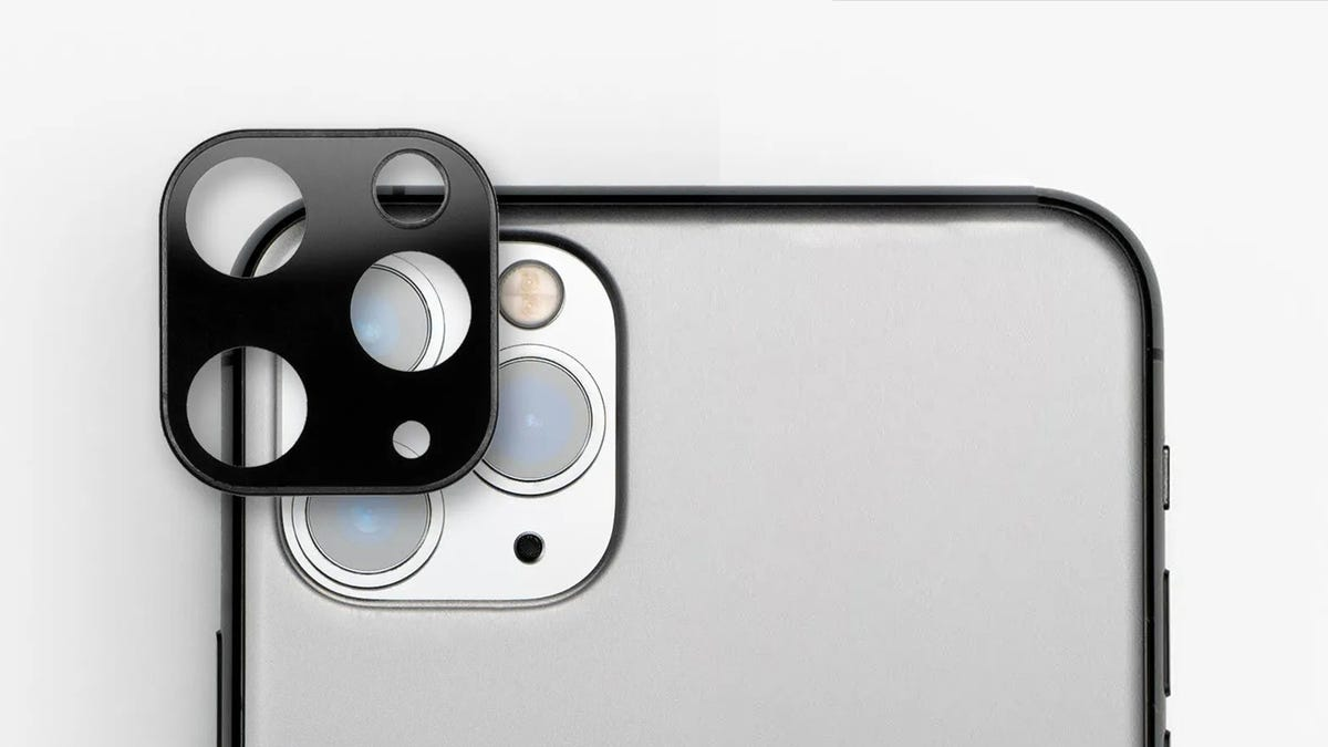 """An iPhone 11 with a """"bumper Case"""" ove the camera lens."""