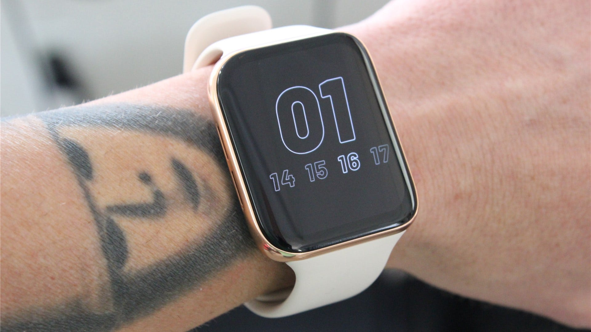 The OPPO Watch on an arm with always-on display enabled