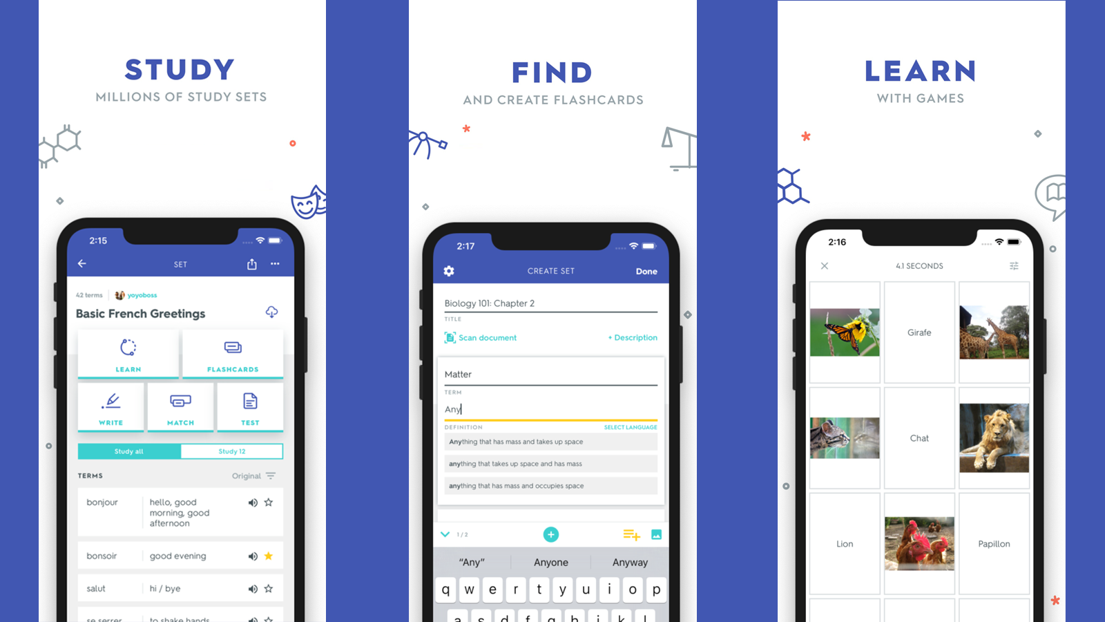 Three pages of the Quizlet app, showing resources for studying, finding, and learning content