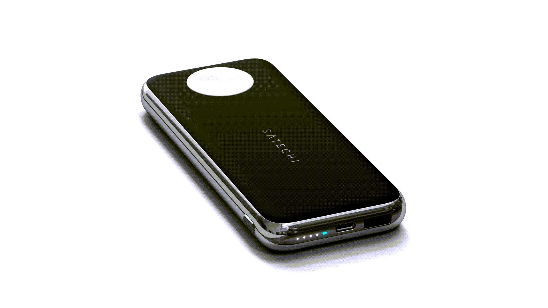 A closeup of the Satechi Wireless Power Bank showing an Apple Watch charger.