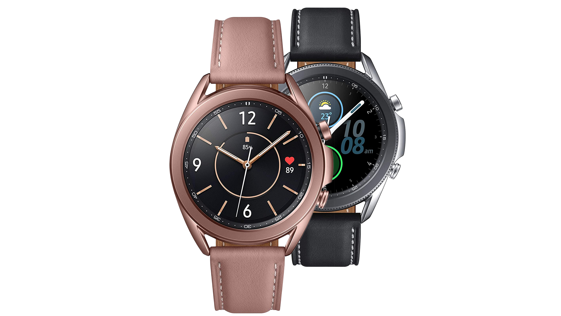 A photo of the Samsumg Galaxy Watch 3 in black and mystic bronze.