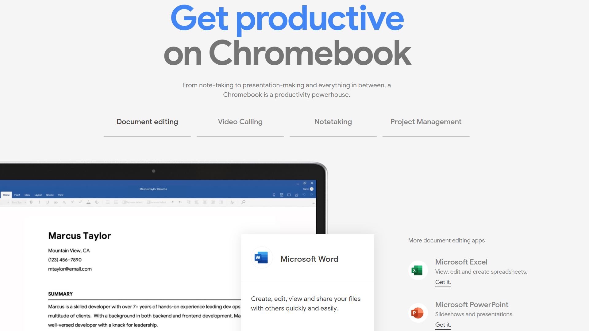A promo image showing productivity software on Chrome OS