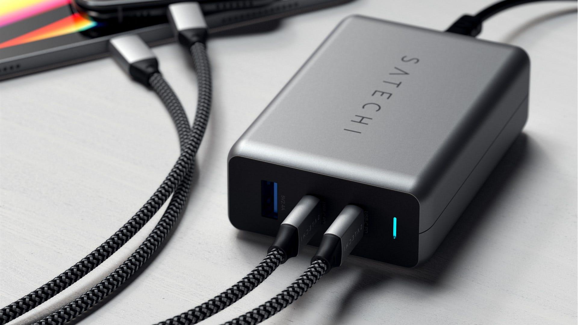 Satechi 100W dual USB-C PD GaN charger ports